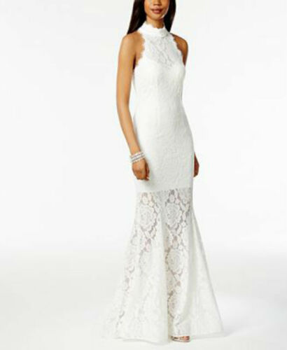 Betsy /& Adam Lace Open-Back Mermaid Gown IVORY MSRP $279