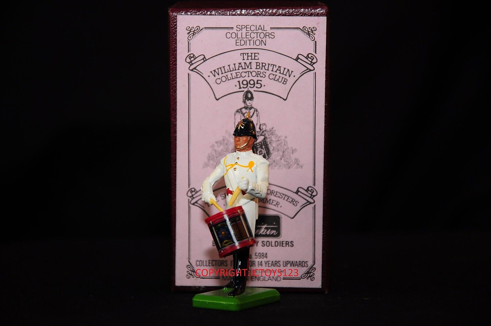 BRITAINS 5984 SHERWOOD FORESTERS BAND SIDE DRUMMER METAL TOY SOLDIER FIGURE