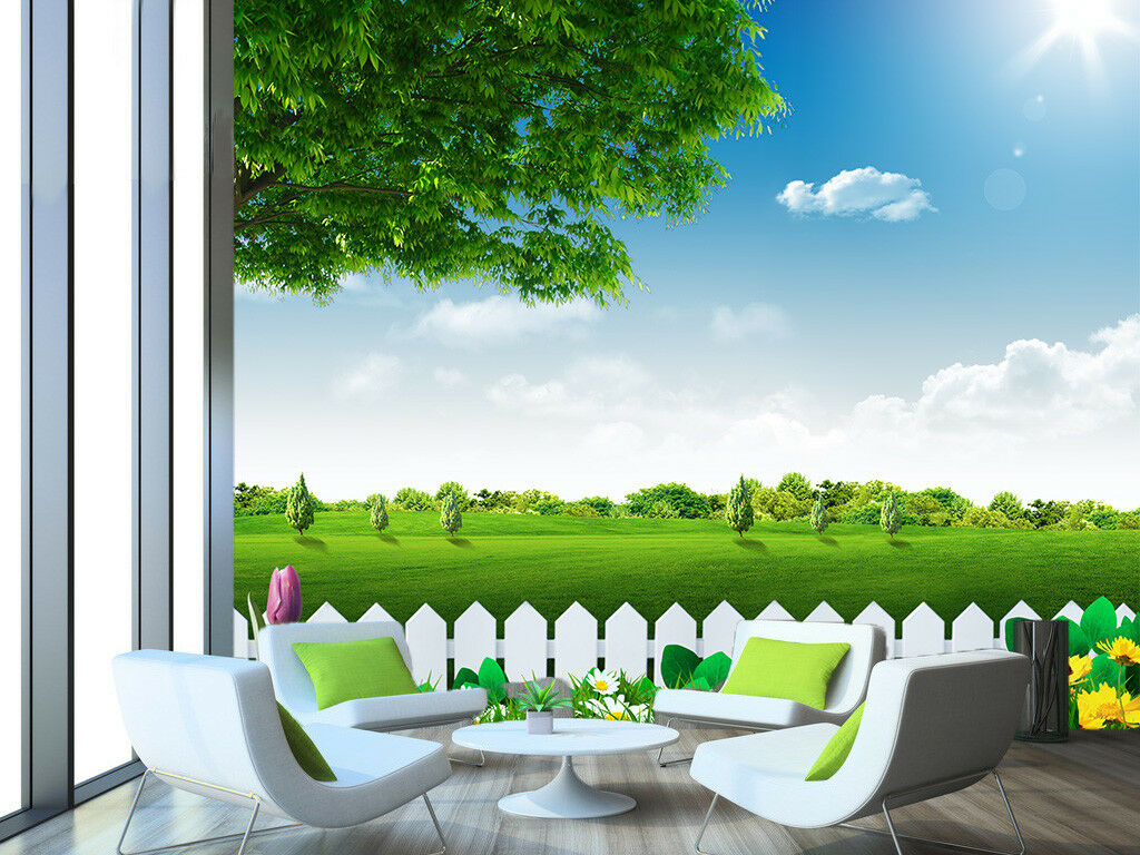 3D Sun Fence Meadow 452 Wall Paper Wall Print Decal Wall Deco Indoor Mural Carly