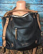Jessica Simpson Black Tan Cross-body Bag Purse Boho Large