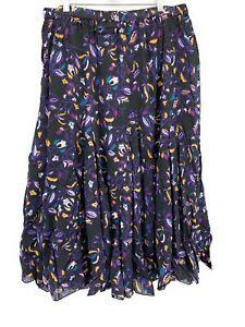 Bridgewater Studio Womens Gauze Maxi Skirt Black Purple Plus Size 22W 2X Floral
