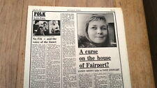 SANDY DENNY curse on Fairports 1974 UK Poster/ ARTICLE / clipping