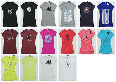 Farben Chucks versch Neu All Star Converse T-Shirt TShirt Top Damen Wm