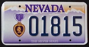 NEVADA-034-PURPLE-HEART-VETERAN-SILVER-STATE-NV-Military-Specialty-License-Plate