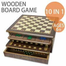 10 in 1 Wooden Board Kids Game Set Chess Backgammon Checkers Snakes & Ladders