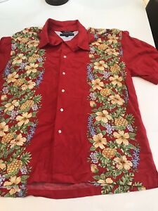9173bbbe Tommy Hilfiger Hawaiian Aloha Shirt Sz XL Red Hibiscus Pineapple ...