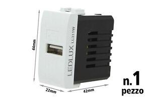 PRESA PORTA USB 5V 1A AC//DC DA 1 MODULO Compatibile BTICINO LIVING 81750