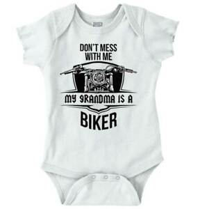 My Grandma Is A Biker Cool Nana Shower Gift Newborn Baby Boy Girl Infant Romper