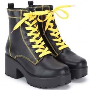 le Talon Biker Lacets Chaussures afficher et Détails Bottier Bottines d'origine Noir titre sur Combat Jaune Talon Compensées edBCxo