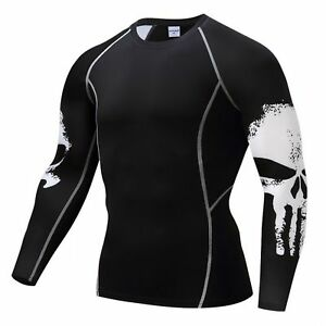 Mens-Compression-Shirt-T-Punisher-Top-S-Marvel-Breathable-Quick-Dry-Bodybuilding