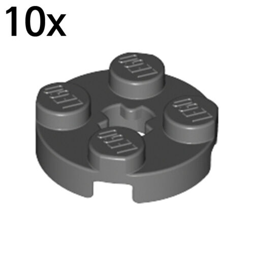 LEGO 10x Dark Bluish Gray Plate X 4211042 4032b Round 2 x 2 with Axle Hole