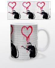 RAT PAINTS HEART 11 OZ COFFEE MUG TEA CUP BANKSY STREET ART GRAFFITI SOCIAL 3D!!