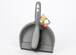 Grau-Dust-Pan-Dustpan-und-Pinsel-Set-flach-Kehrmaschine-Duster-Nylon-Borsten-Besen