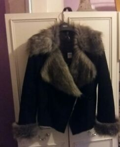 M Fur Faux Suede Black £75 Lapels Rrp amp;co With Jacket Nwt Collar And Zf6Z1rx