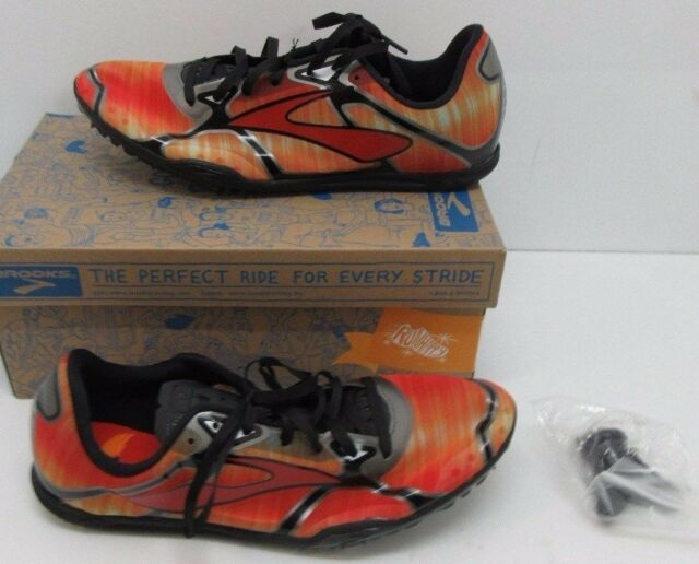 Men s Brooks PR LD 3 Track Spikes Running Shoes High Risk Red   Anthracite  Sz 9D a9dc505f1