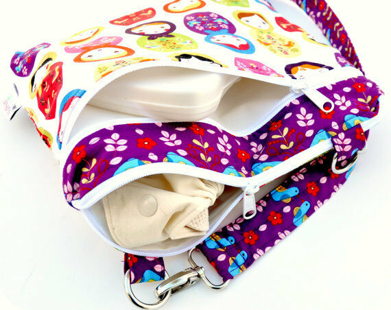 Dual Zipper Baby Cloth Diaper Nappy Wet Dry Bag Swimmer Tote Ripple Pattern