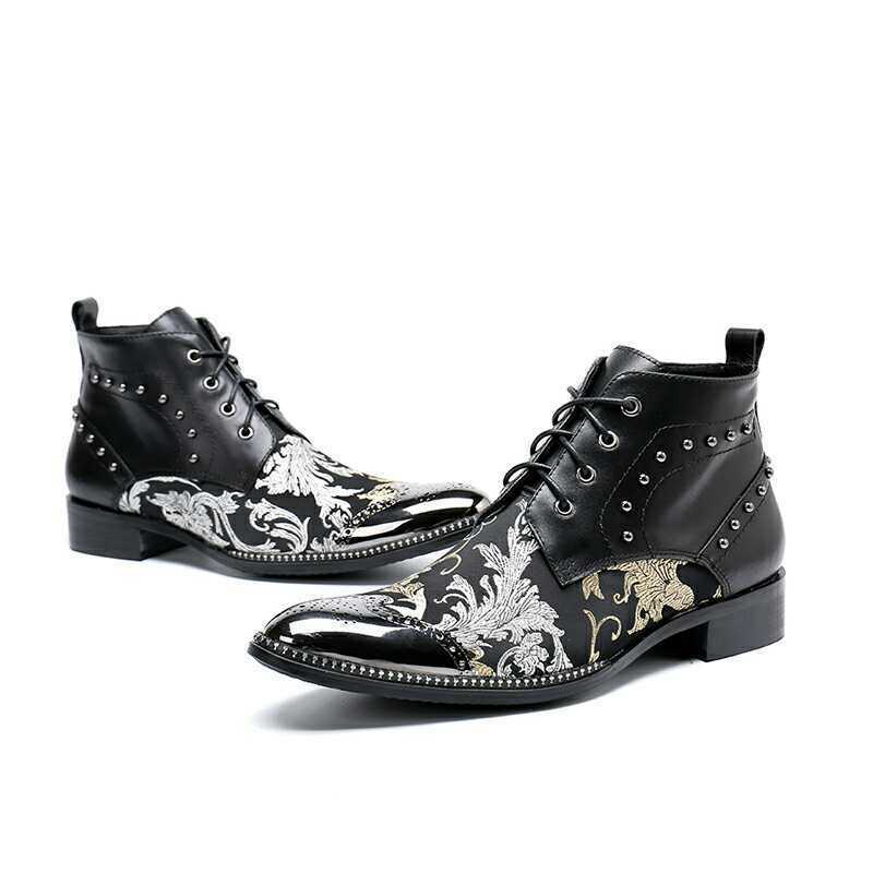 Men's Fashion Pointy Toe Lace Up Rivet Oxford shoes Party Youth Leather shoes