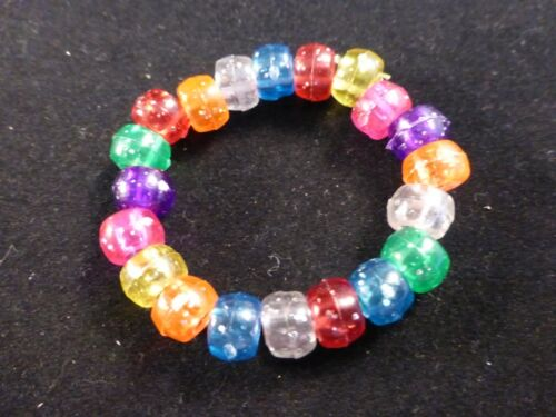 Colourful Glitter Plastic Pony Beads Party Bags 8 x Small Stretch Bracelets