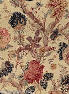 Schumacher Indian Arbre Jacobean Linen Fabric 10 Yards Tea