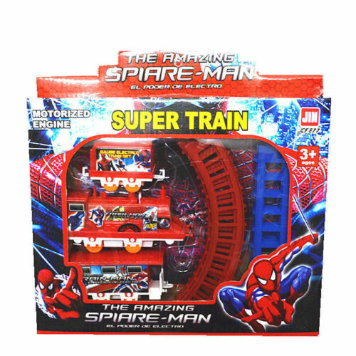 Super Heroes Spider-Man Figures Electric Train Track Set Kids Boy Girl Toy Gift