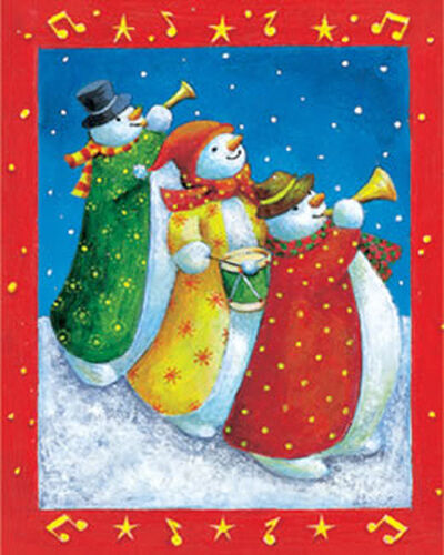 3 Pack Dufex Foil Picture Print Three Musical Snowmen size 4 3//8 x 5 3//4/""