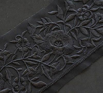 "Black On Black Sheer Trim Embroidered With Black Flowers & Vines 3"" Wide 1.5 yds"