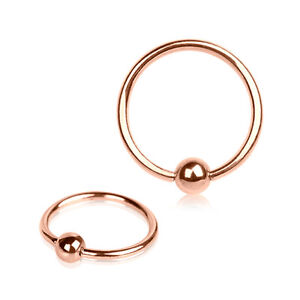 14g 16g Rose Gold Captive Bead Ring 316L Septum Ear Nose Tragus