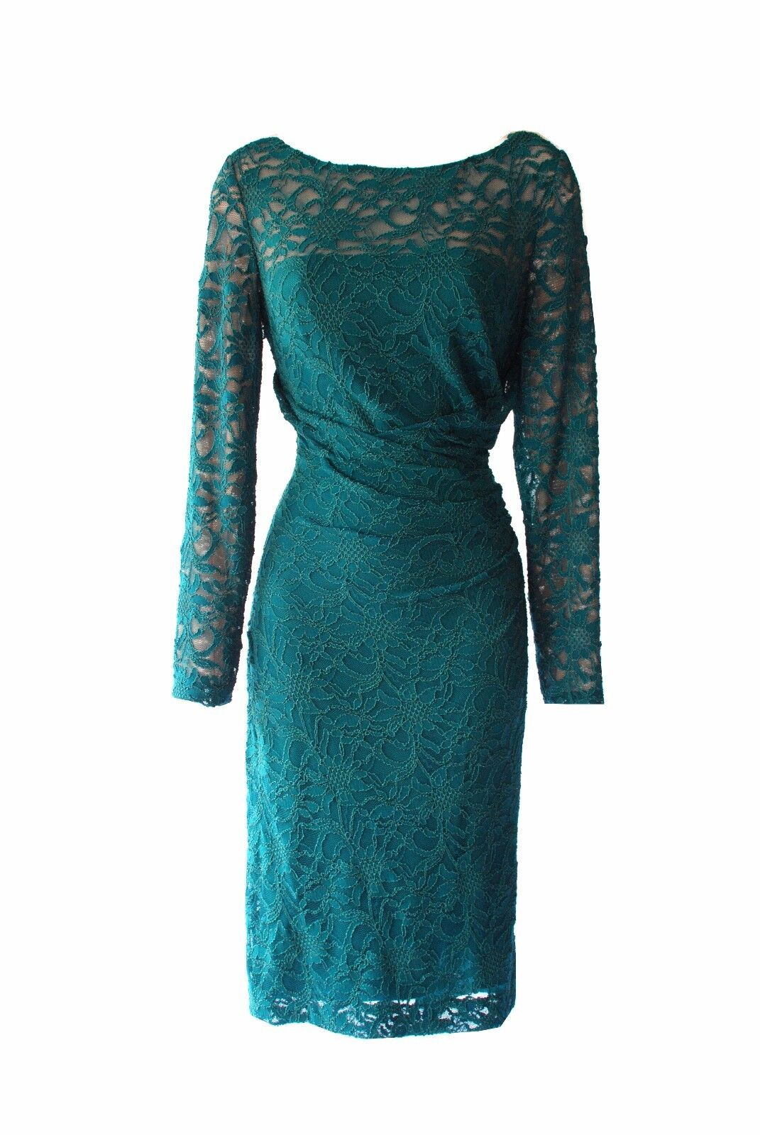 Ralph Lauren Lace Long Sleeves Stretch Elegant Party Occasion Dress Grün 6
