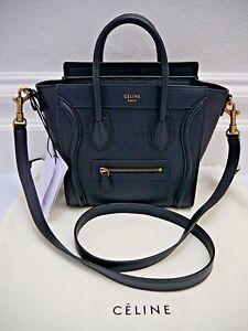 Image Is Loading New Celine Nano Luggage Bag Midnight Dark Blue