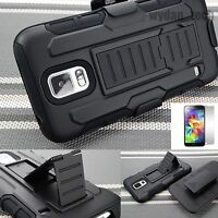 Tank Hybrid Black Holster Case Cover For Samsung Galaxy S5 w/ Screen Protector