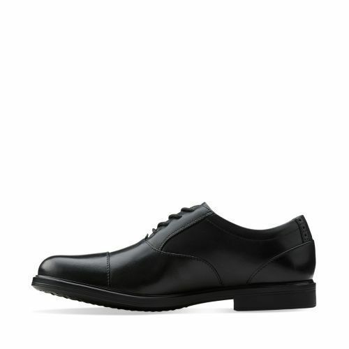 CLARKS Mens Gabson Cap Toe Dress or Casual Lace Up Shoes Black Leather 26103333