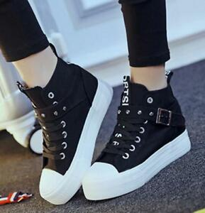 4ee17341cbe44 Details about Fashion Women's High Top Sneaker Lace Up Hidden Wedge Heels  Canvas Casual Shoes