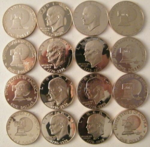 1976 S Eisenhower Dollar Type 1 /& 2 Choice Cameo Clad Proof 2 Coin Ike Set US