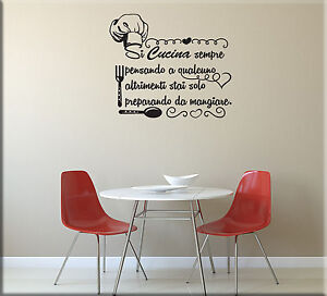Adesivi murali frase cucina decorazioni da parete wall for Adesivi muro cucina