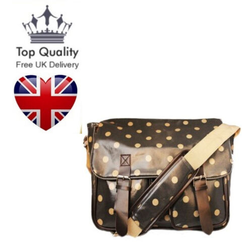 Oilcloth Shoulder Bag Spotted Pattern Satchel Saddle Shoulder Bag UK