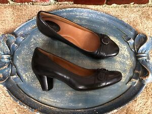 Details about NWOB CLARKS ARTISAN TIGE DE CUIR BLACK LEATHER SLIP ON WOMENS SHOES SIZE 8 M