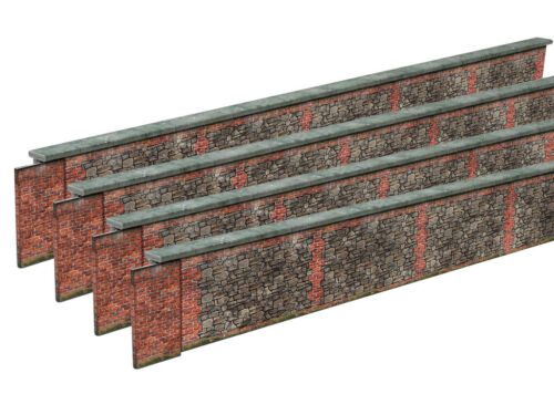 PRE-CUT 8ft STONE /& BRICK WALL CARD KIT 2MM SCALE FOR MODEL RAILWAY N GAUGE