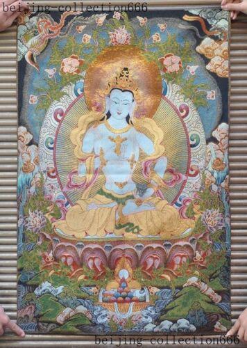 "36/""Tibetan Buddhism Silk Cloth thangka Tara Guanyin KuanYin Buddha Statue Tangka"