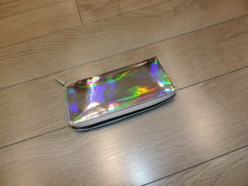Marc Jacobs Silver Light Holographic Rebel Metal Wallet Zipper