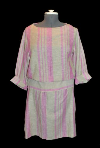Ms. Claire Vintage 60s 70s Pink & Taupe Striped Ca