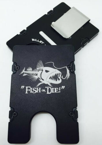 BilletVault Wallet Alum.RFID protected black anodized Bone Fish Fish or Die