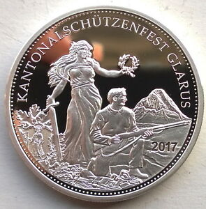 1991 Switzerland Silver 50 Francs Shooting Taler Proof Coin JA