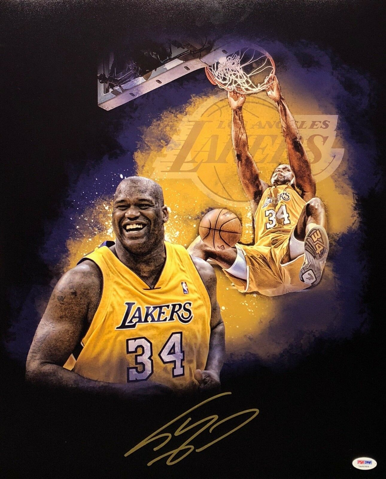 Shaq Shaquille O'Neal Signed Lakers 16x20 Basketball Photo PSA 7A66989