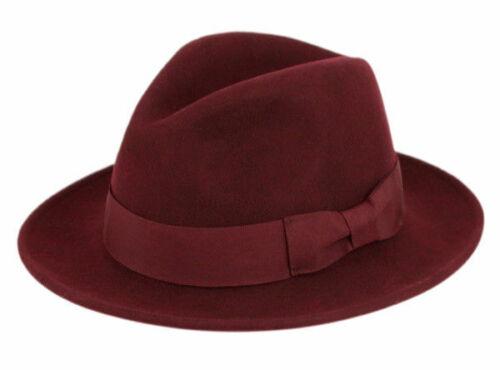Milano Premium Laine Feutre Fedora Chapeau déformable avec gros-grain Band Classique Plat Brim