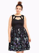 Torrid Disney size 18 2X Tinkerbell Floral Swing Dress Womens Plus Black Nwot
