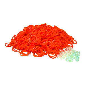 SHIPS FREE FROM USA ~ Loom Refill ORANGE 600 Rubber Bands & 25 S-Clips