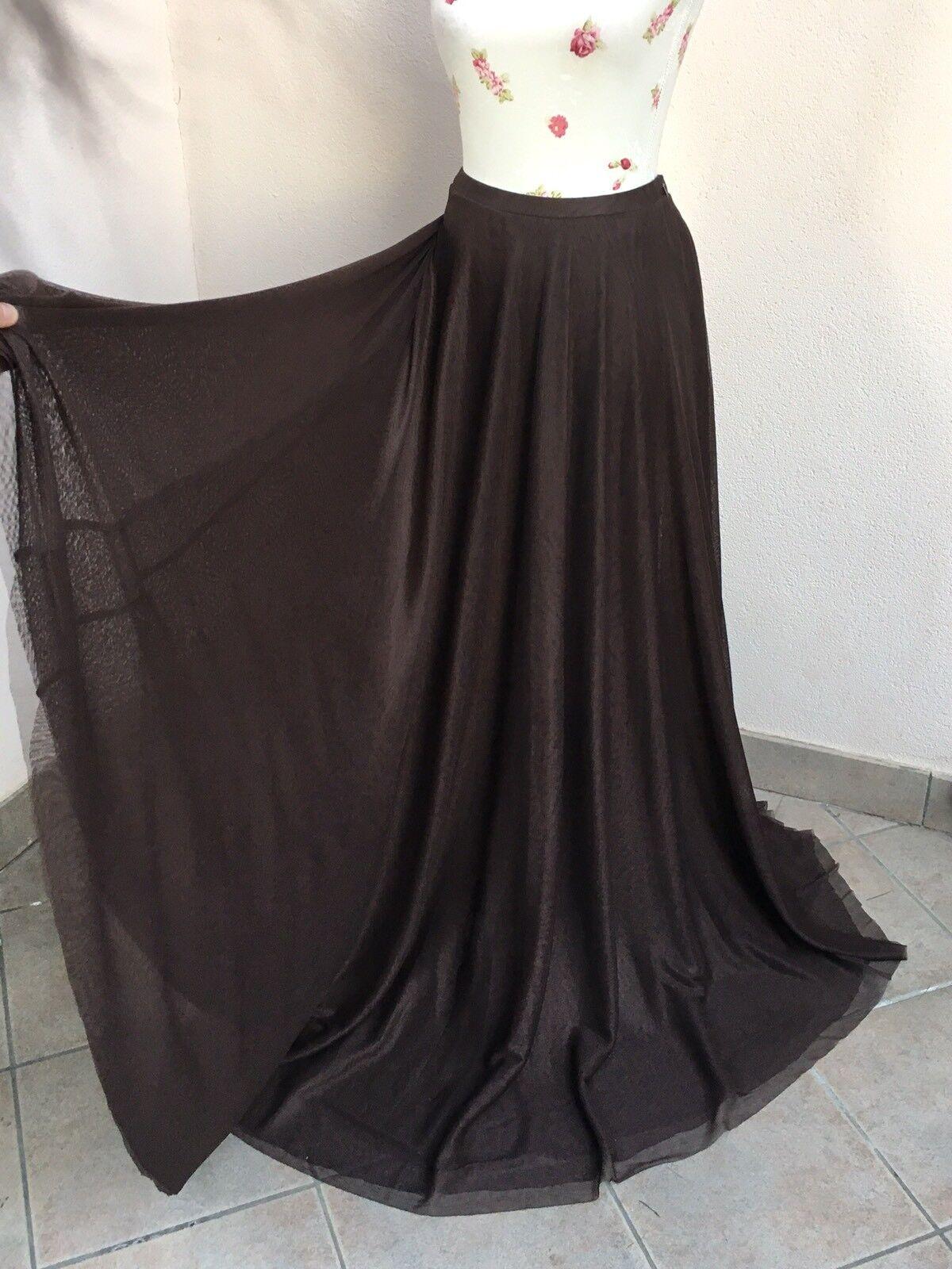 PRINCESSE METROPOLITANE maxi gonna lunga tulle brown 3 strati skirt tg M