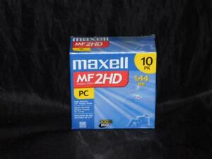 Vtg-Maxell-3-5-in-2-HD-1-44-MB-Pre-Formatted-PC-Floppy-Disks-NEW-10-Pack-Lot-NIP