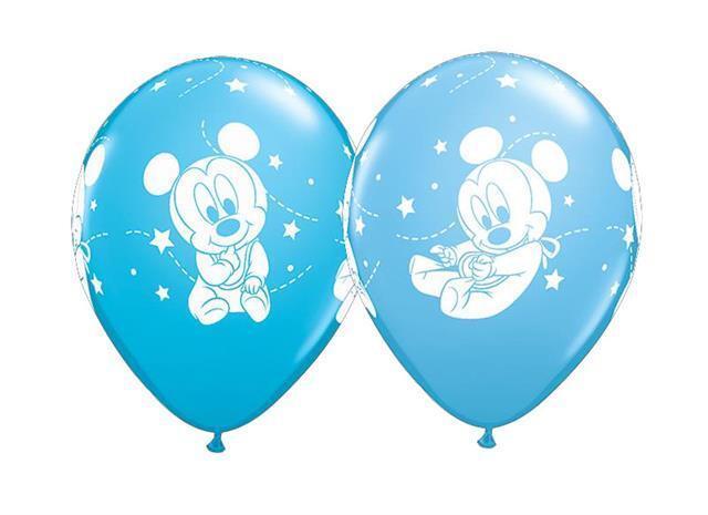 Disney Bébé Mickey Étoiles Qualatex 27.9cm Ballons en Latex X 5 (Variés Bleu)
