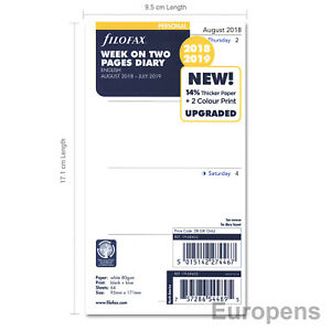 Filofax-2018-2019-Personal-ACADEMIC-MID-YEAR-Week-On-Two-Pages-Diary-Refill